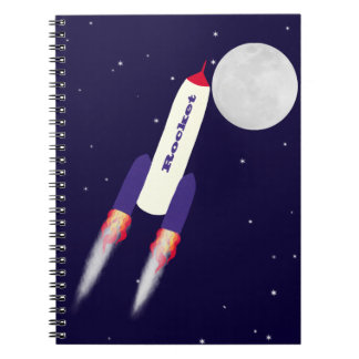 Rocket of Red White and Blue in Space Cartoon Art Note Book
