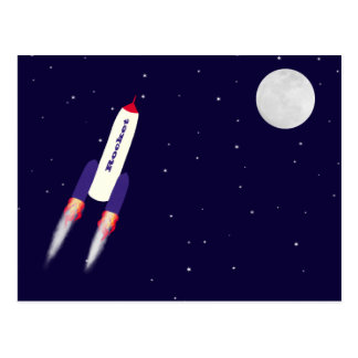 Rocket of Red White and Blue in Space Cartoon Art Postcards