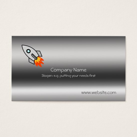 Rocket on metallic-look template business card