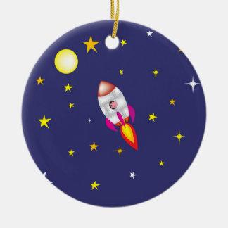 Rocket pig ceramic ornament