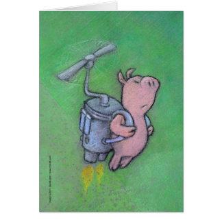 rocket pig greeting card