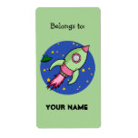 Rocket pink green Bookplate Label Shipping Label