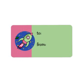 Rocket pink green Gift Tag label