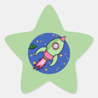 Rocket pink green Star Sticker
