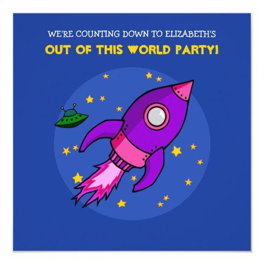 Rocket pink purple Birthday Invitation