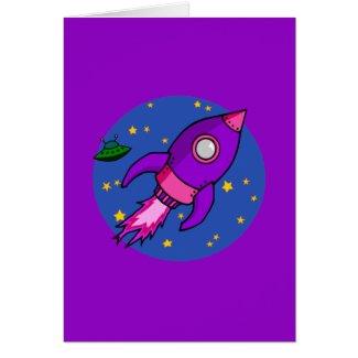 Rocket pink purple Card card