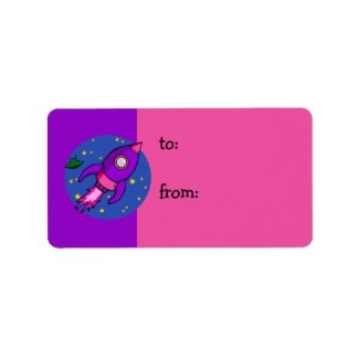 Rocket pink purple Gift Tag label