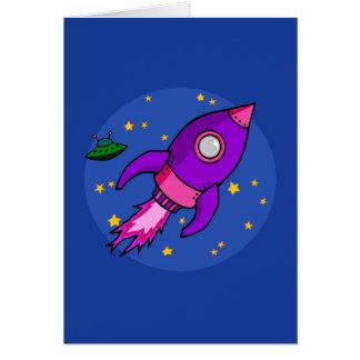 Rocket pink purple Note Card