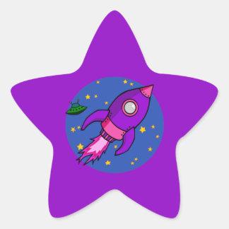 Rocket pink purple Star Sticker