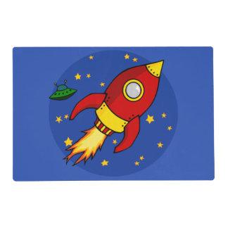 Rocket Placemats laminado amarillo rojo Tapete Individual