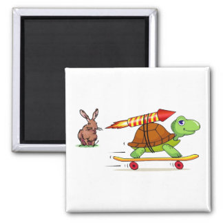 Rocket Propelled Tortoise and Hare 2 Inch Square Magnet