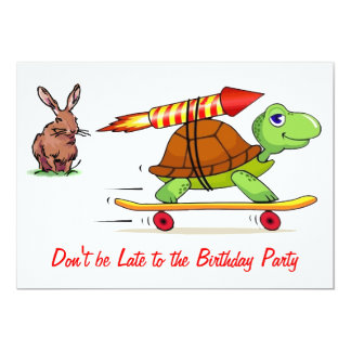 Rocket Propelled Tortoise and Hare Birthday Party Card