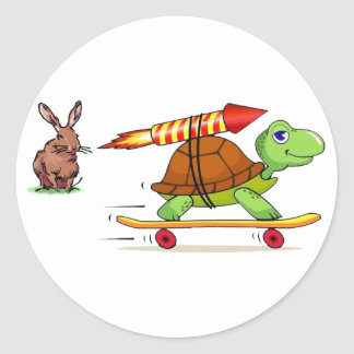 Rocket Propelled Tortoise and Hare Classic Round Sticker