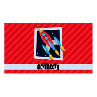 Rocket; Rayas del rojo del escarlata Tarjetas De Visita