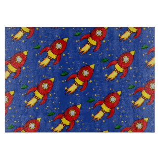 Rocket red Pattern Glass Cutting Board 11x8