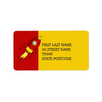 Rocket red yellow Address Label label