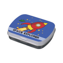 Rocket red yellow Birthday Jelly Belly™ Candy Tin