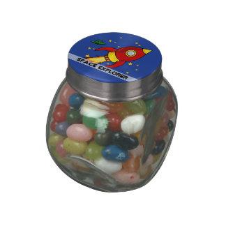 Rocket red yellow Birthday Jelly Belly™ Glass Jar