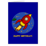 Rocket red yellow Blue Birthday Card