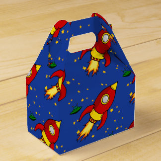Rocket red yellow Gable Favor Box