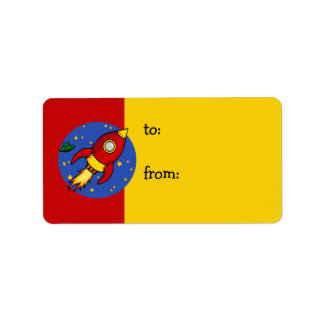 Rocket red yellow Gift Tag