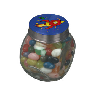Rocket red yellow Jelly Belly™ Glass Jar