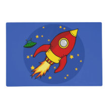 Rocket red yellow Laminated Placemats Laminated Placemat