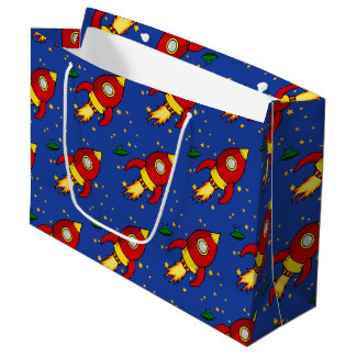 Rocket red yellow Large Glossy Gift Bag