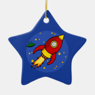 Rocket red yellow Ornament