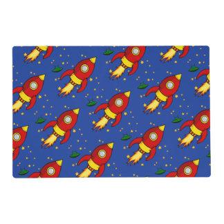 Rocket red yellow Pattern Laminated Placemats