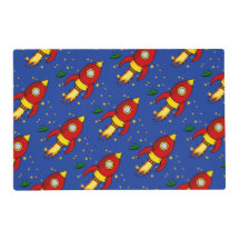 Rocket red yellow Pattern Laminated Placemats Laminated Placemat