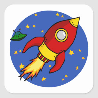 Rocket red yellow Square Sticker