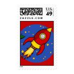 Rocket red yellow Stamp