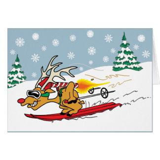 Rocket Reindeer Card Greeting Card