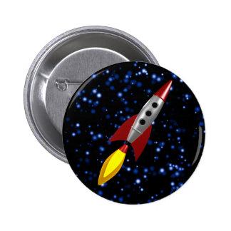 Rocket retro 3d pin redondo de 2 pulgadas