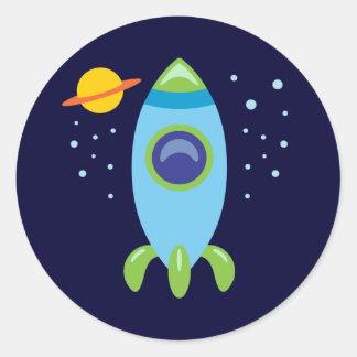 Rocket retro pegatina redonda