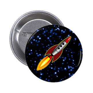 Rocket retro pin redondo de 2 pulgadas