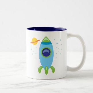 Rocket retro taza de café de dos colores