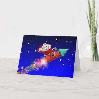 Rocket Santa 02 card