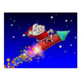 Rocket Santa 02 Postcard