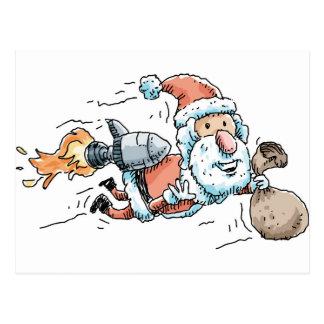 Rocket Santa Claus Postcard
