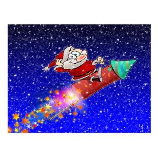 Rocket Santa Postcard