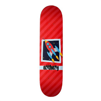 Rocket; Scarlet Red Stripes Skate Board