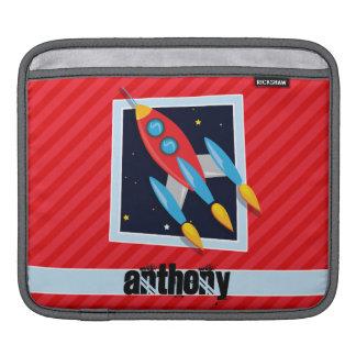 Rocket; Scarlet Red Stripes Sleeve For iPads