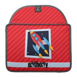 Rocket; Scarlet Red Stripes Sleeve For MacBook Pro