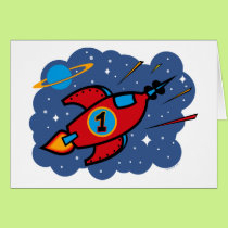 Rocket Ship 1st Birthday Card