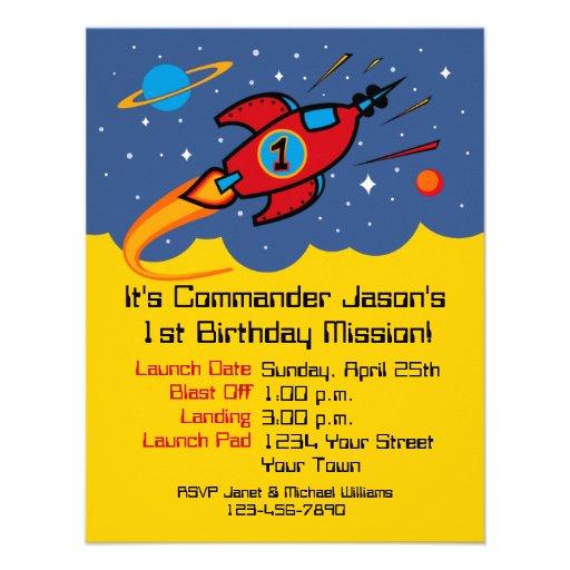 Rocket Ship 1st Birthday Custom Invitations