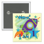 Rocket Ship 1st Birthday Tshirts and Gifts 2 Inch Square Button