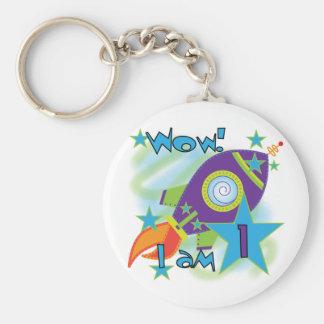 Rocket Ship 1st Birthday Tshirts and Gifts Basic Round Button Keychain