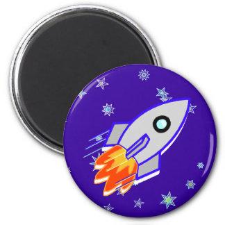 Rocket Ship 2 Inch Round Magnet